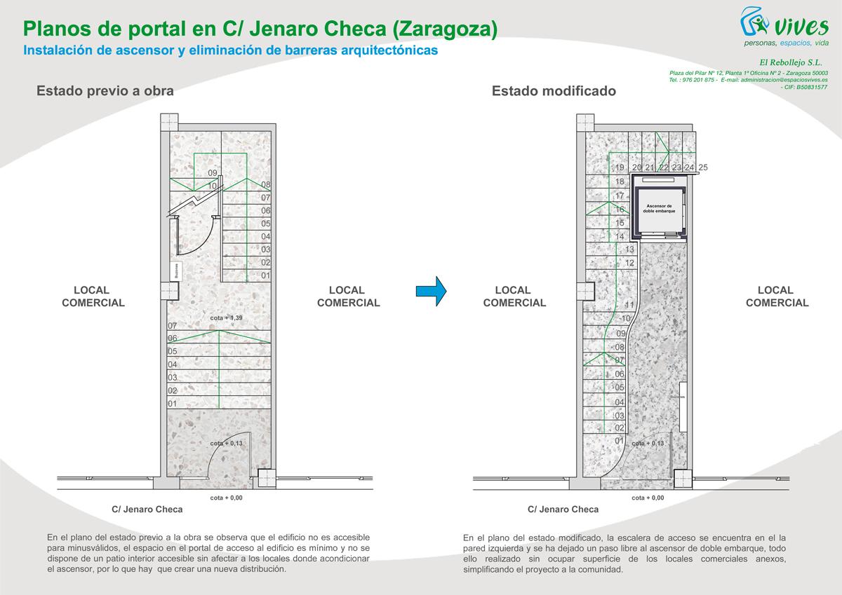Instalacin de ascensor y reforma portal en edificio de - Reformas de pisos en zaragoza ...