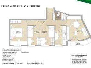 Plano vivienda reformada en Delicias (Zaragoza)